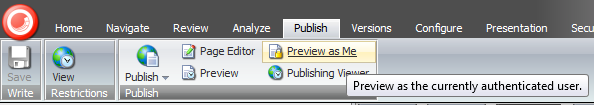 Preview as Me: Content Editor Ribbon