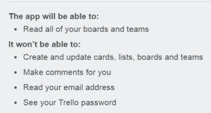 List of permissions Corello requires (Read access to all of your boards and teams)