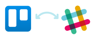 Trello icon and Slack icon with arrows indicating data integration between the two.